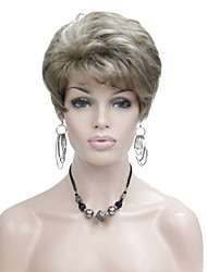 Lady Women Short Layered Blonde with Highlights Full Synthetic Wigs Wig
