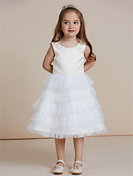 cheap -A-Line Knee Length Flower Girl Dress - Satin Tulle Sleeveless Jewel Neck with Ruffles by thstylee