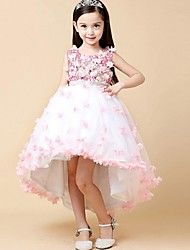 Недорогие -бальное платье асимметричное платье девушки цветка - органза безрукавная жемчужина шеи с бисером по ydn