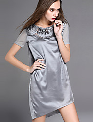 cheap -YHSP Women's Going out Beach Holiday Casual Sophisticated A Line Dress,Solid Round Neck Above Knee Asymmetrical Short Sleeves Polyester Summer