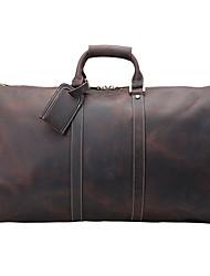 Unisex Bags Cowhide Travel Bag for Casual Outdoor All Seasons Dark Brown