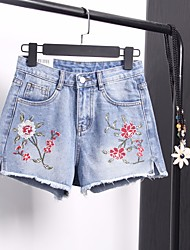Women's High Rise strenchy Jeans Shorts Pants,Street chic Slim Print