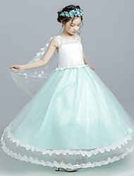 Ball Gown Tea Length Flower Girl Dress - Organza Sleeveless Jewel Neck with Applique by YDN