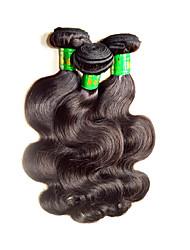 Недорогие -Натуральные волосы Пряди натуральных волос Реми Естественные кудри Индийские волосы 300 g 1 год