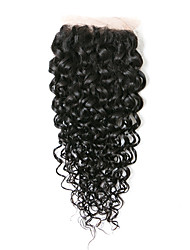 cheap -Kinky Curly Classic 4x4 Closure Swiss Lace Human Hair Free Part Middle Part 3 Part High Quality Daily