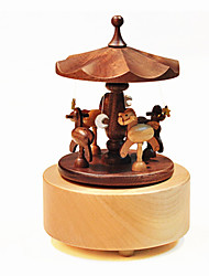 Music Box Toys DIY Duck Cylindrical Horse Carousel Wood Pieces Unisex Birthday Gift