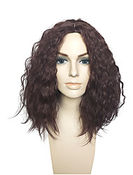 Dark Wine Color Synthetic Fiber Wig Kinky Curly  No Bangs Cosplay Costume Wigs