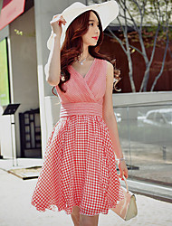 cheap -DABUWAWA Women's Daily Going out Holiday Cute Sophisticated Street chic A Line Sheath Swing Dress,Plaid V Neck Above Knee Sleeveless Polyester