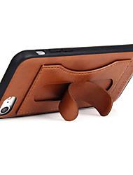 Недорогие -Кейс для Назначение iPhone 7 Plus IPhone 7 Apple Бумажник для карт со стендом Кейс на заднюю панель Сплошной цвет Твердый Настоящая кожа