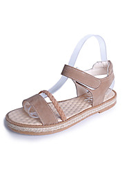 cheap -Women's Sandals Creepers PU Spring Summer Casual Dress Creepers Magic Tape Flat Heel Black Light Brown Under 1in