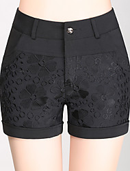 cheap -Women's Plus Size High Rise Slim Shorts Pants, Sweet Style Solid Cotton Summer