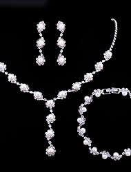 cheap -Women's Pearl / AAA Cubic Zirconia Jewelry Set - Fashion Include Bracelet / Pearl Necklace White For Wedding / Party / Engagement