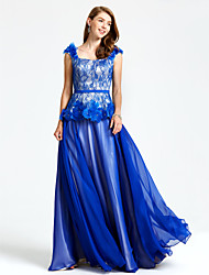 A-Line Straps Floor Length Chiffon Lace Formal Evening Dress with Beading Flower(s) Sash / Ribbon by TS Couture®