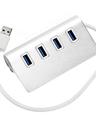 4 Ports USB 3.0 High Speed HUB Ultra Slim fashion Silver