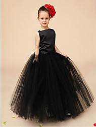 Ball Gown Ankle Length Flower Girl Dress - Organza Sleeveless Bateau Neck with Ruffles by YDN