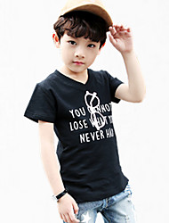 Boys' Daily Floral Tee,Cotton Spring Summer All Seasons Short Sleeve Floral White Black