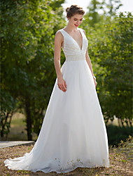 A-Line Plunging Neckline Sweep / Brush Train Organza Wedding Dress with Pearl Draped by LAN TING BRIDE®