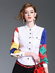 Camicia Da donna Casual Per uscire Romantico Primavera Estate,Monocolore Colletto alla coreana Cotone Poliestere Manica lungaMedio