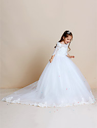 Ball Gown Sweep Train Flower Girl Dress - Tulle Half Sleeves Off-the-shoulder by thstylee