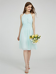 cheap -Sheath / Column Jewel Neck Knee Length Chiffon Bridesmaid Dress with Side Draping Ruching by LAN TING BRIDE®