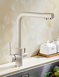 cheap -Contemporary Art Deco/Retro Modern Standard Spout Vessel Rotatable Ceramic Valve Two Handles One Hole Painting, Kitchen faucet