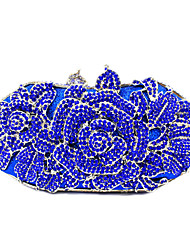 cheap -Women Bags PU Metal Clutch Crystal/ Rhinestone Flower for Wedding Event/Party Formal Office & Career Spring Summer Fall Blue Black Red