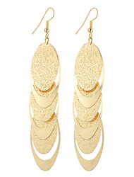 cheap -Fashion Vintage Charm Plated Gold/Silver Matte Oval And Hollow Oval  Earrings For Women Dangle Long Earrings Wedding Bijouterie