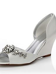 abordables -Mujer Zapatos Seda Primavera / Verano Confort / Zapatos Dyeable Zapatos de boda Tacón Cuña Dedo redondo / Punta abierta / Puntera abierta Purpurina Marfil / Boda / Fiesta y Noche