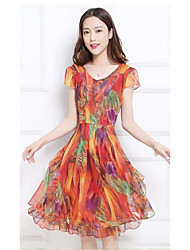 cheap -Women's Going out Casual Skater Dress,Rainbow Round Neck Knee-length Short Sleeves Rayon Summer Mid Rise Inelastic Thin