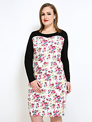 Really Love Women's Plus Size Sexy Vintage Simple Bodycon Shift T Shirt Dress,Floral Round Neck Midi Long Sleeve Cotton Polyester Spring SummerMid