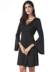 cheap -Women's Party Club Sexy Sheath Little Black Dress,Solid V Neck Above Knee Long Sleeves Polyester Spring Summer High Rise Inelastic Thin