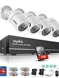 cheap -SANNCE® 4CH 4PCS 720P HD Camera 1080N HDMI VGA DVR & Waterproof Home Surveillance Security System 1TB  IR Night Vision