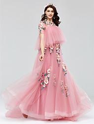 Linha A Princesa Decorado com Bijuteria Cauda Corte Tule Evento Formal Vestido com Apliques Faixa de Huaxirenjiao