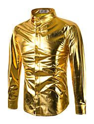 Недорогие -Муж. Рубашка Хлопок Тонкие Панк & Готика Уличный стиль Однотонный