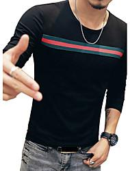 Tee-shirt Homme,Rayé Décontracté / Quotidien Vacances Grandes Tailles simple Toutes les Saisons Manches Longues Col Arrondi Coton Spandex