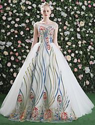 abordables -Robe de Soirée Princesse Illusion Neckline Traîne Brosse Satin Tulle Pailleté Soirée Formel Robe avec Billes Motif / Impression