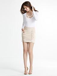 Χαμηλού Κόστους sylwia-Γυναικεία Εφαρμοστό Φούστες - Μονόχρωμο, Χιαστί