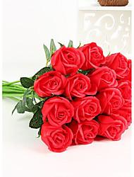 4.0 Une succursale Polyester Plastique Roses Fleur de Table Fleurs artificielles