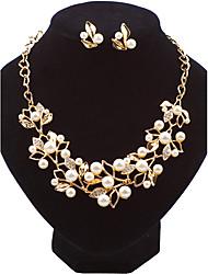 Set de Bijoux Boucles d'oreille goujon Collier Mode euroaméricains Perle Alliage Forme de Feuille PourMariage Soirée Occasion spéciale