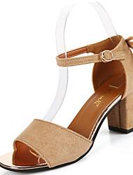 Feminino Sandálias Conforto Camurça Verão Casual Caminhada Conforto Laço Salto Grosso Preto Verde Camel 7,5 a 9,5 cm