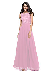 cheap -Product Sample A-Line Princess Bateau Neck Floor Length Chiffon Lace Bridesmaid Dress with Sash / Ribbon Pleats by LAN TING BRIDE®