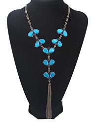 Femme Pendentif de collier Col Collier Y Bijoux Bijoux Acrylique Alliage Basique Stras Naturel Amitié USA Mode Mariée Vintage British