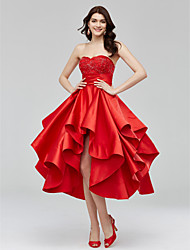cheap -A-Line Fit & Flare Sweetheart Asymmetrical Satin Cocktail Party / Homecoming Dress with Beading Appliques Sash / Ribbon Ruched by TS