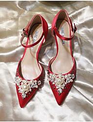 baratos -Mulheres Sapatos Couro Ecológico Verão Chanel Saltos para Casual Preto / Vermelho