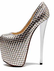 economico -Per donna Scarpe PU (Poliuretano) Primavera Estate Club Shoes Tacchi A stiletto Punta tonda per Serata e festa Argento