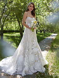 A-Line Sweetheart Court Train Lace Wedding Dress with Sash / Ribbon Flower by LAN TING BRIDE®