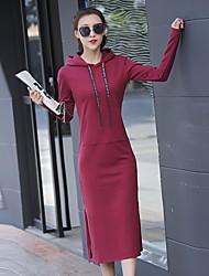 Tee Shirt Robe Femme Décontracté / Quotidien Actif,Couleur Pleine Capuche Midi Manches Longues Coton Printemps Automne Taille Normale