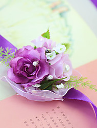 Yuxiying Satin Wrist Corsages Wedding Purple Little Rose Flowers