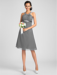 cheap -A-Line / Princess Jewel Neck / Straps / Y Neck Knee Length Chiffon Bridesmaid Dress with Beading / Sash / Ribbon / Criss Cross by LAN TING BRIDE® / Open Back