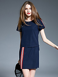 Women's Daily Street chic Summer T-shirt Skirt Suits,Striped Round Neck Short Sleeve Cotton/nylon with a hint of stretch Polyster strenchy